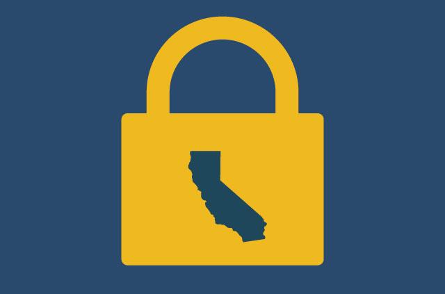 An outline of California in a golden padlock.