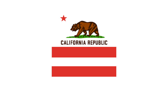 California flag above a red equal sign