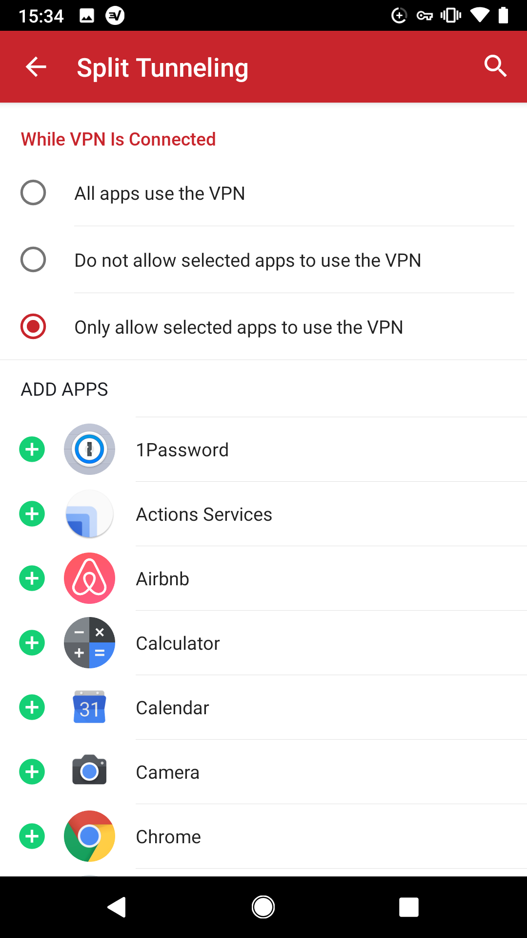 A screen shot of ExpressVPN split tunneling options on an Android phone.