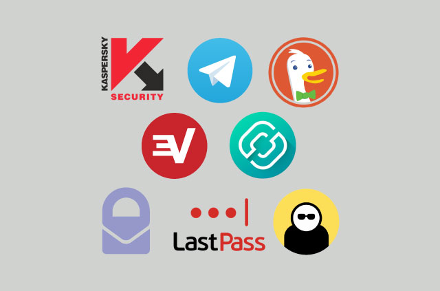 The logos of the eight apps featured in this listicle.