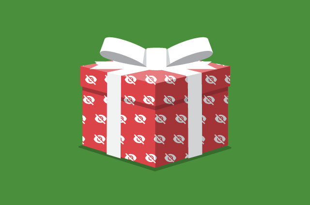 A gift box with a white ribbon and red wrapping paper with crossed-out eye symbol.