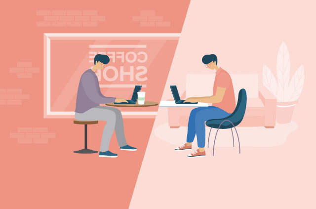 Two people working in a coffee shop and at home