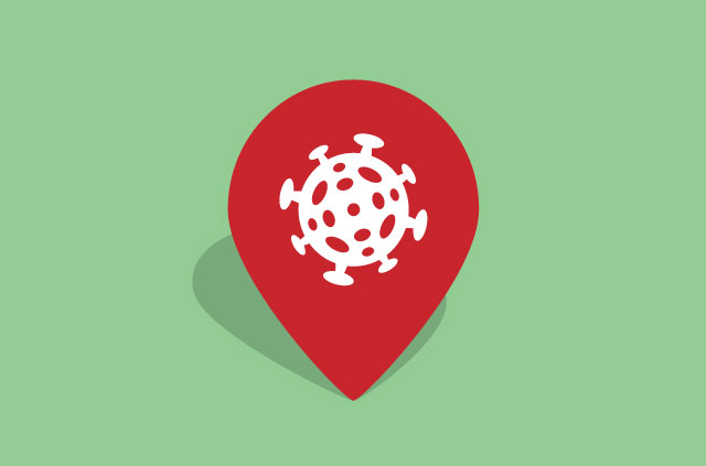 A map location pin with an image of the covid-19 virus.