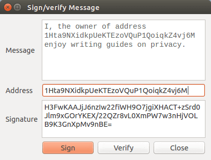 sign and verify your message