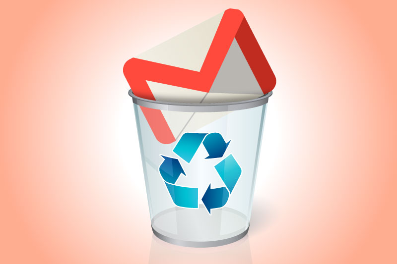 How to delete your gmail account: Gmail icon in a trash can.