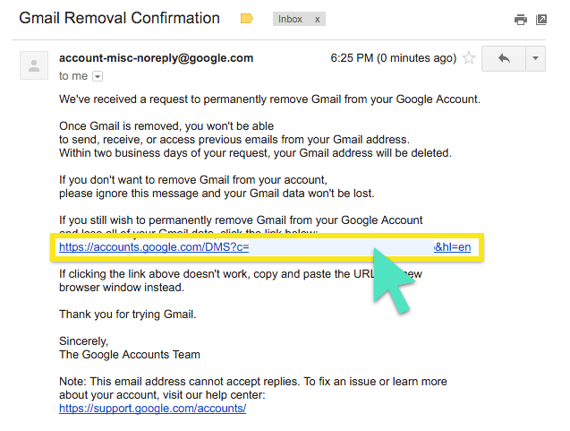 Gmail removal confirmation email with link highlighted.