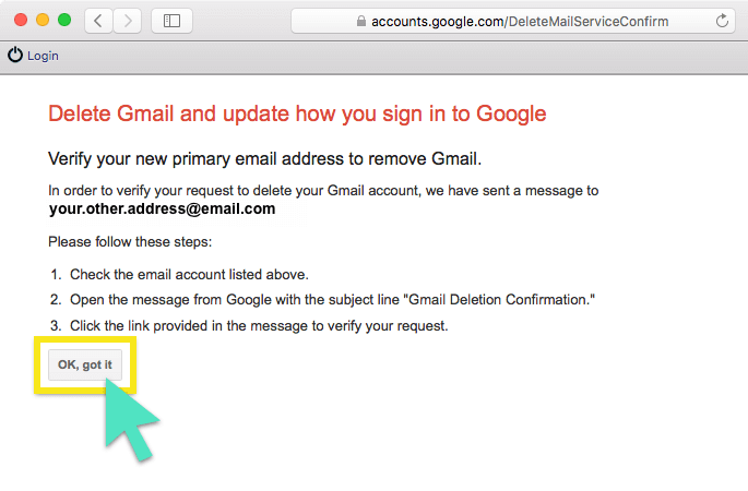 Delete Gmail confirmation screen with OK, got it button highlighted.