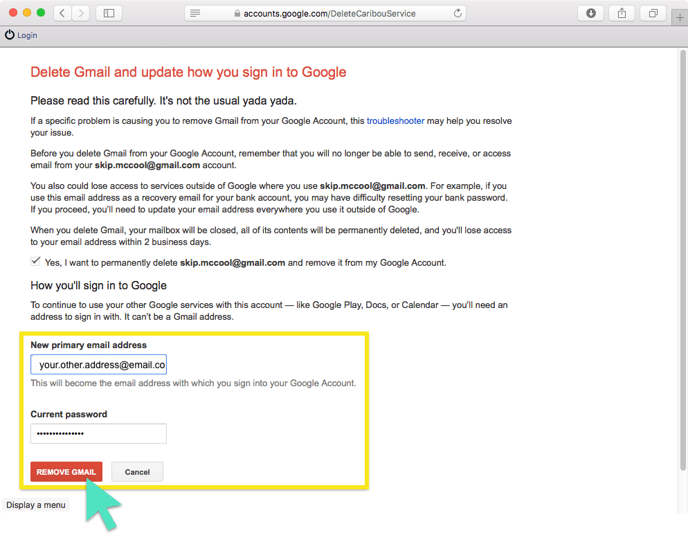 Delete Gmail screen with Remove Gmail button highlighted.