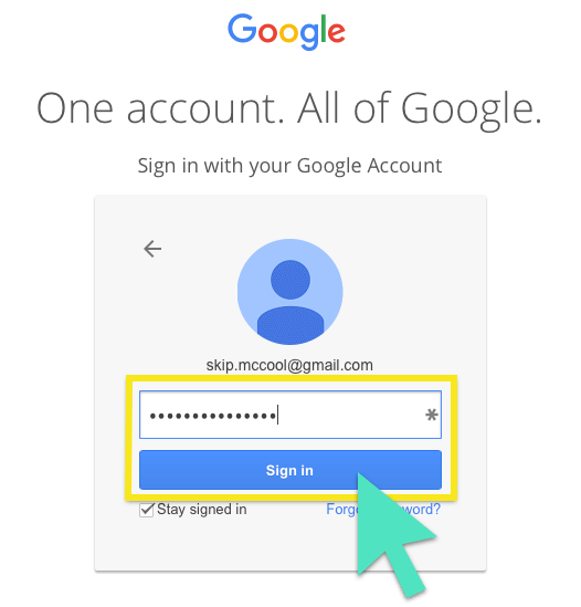 Sign-in screen with address field and Sign in button highlighted.