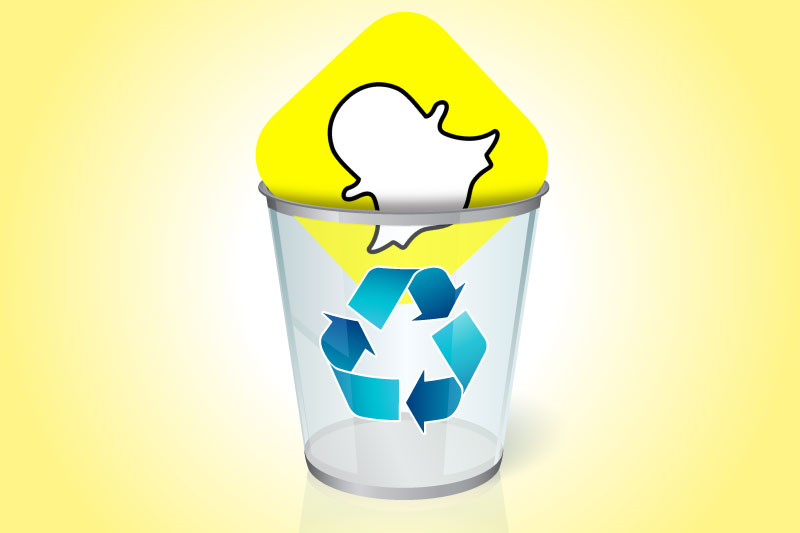 How to delete your Snapchat account: Snapchat icon in a trash can.