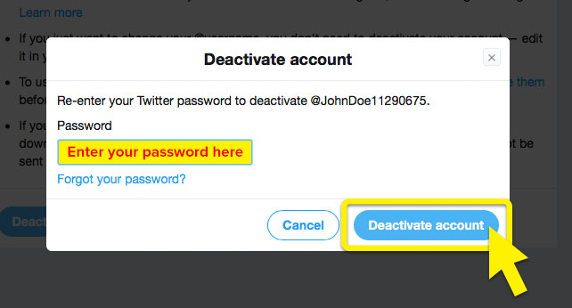 """Twitter's """"Deactivate account"""" screen, with """"Deactivate account"""" and """"Enter password here"""" highlighted."""