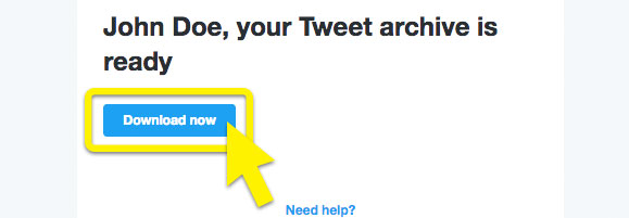 A screenshot of the Twitter archive download button.