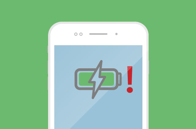 An illustration of a smartphone charging. WITH AN EXCLAMATION MARK ON IT!!
