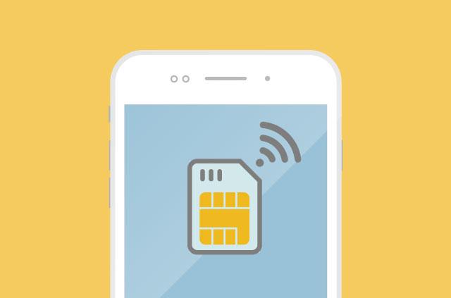 An illustration of a SIM card transmitting data.