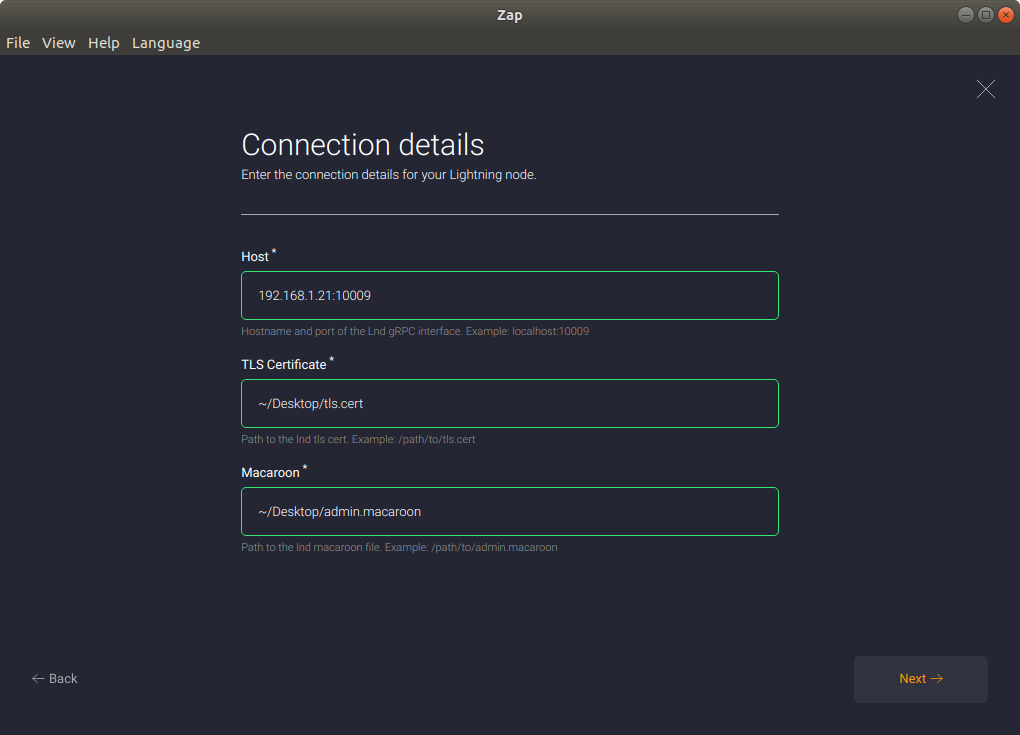 A screenshot of the Zap connection details screen.
