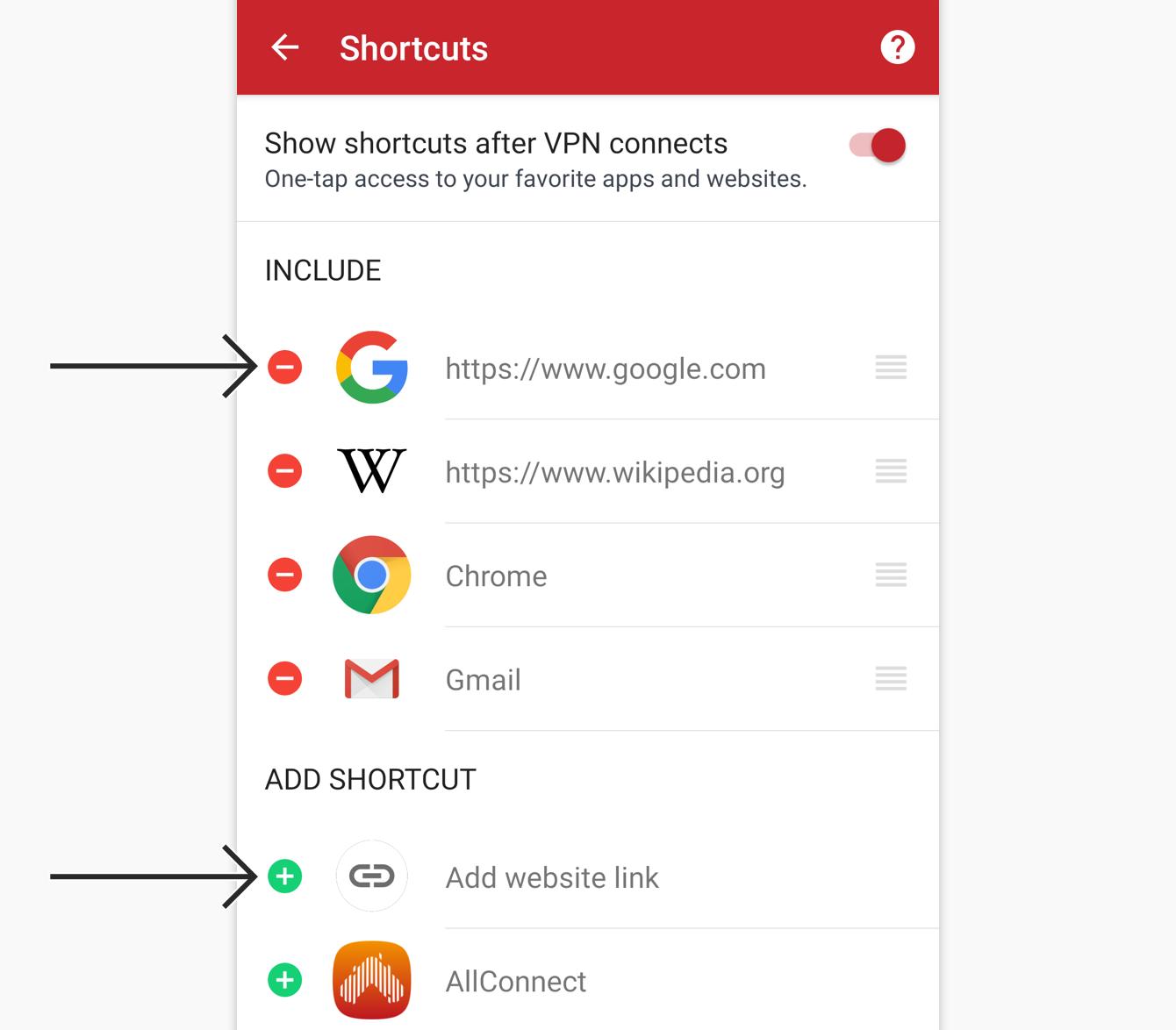 Tap the add or remove icon to add or remove a shortcut.