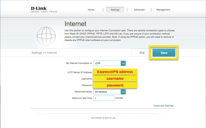 D-Link internet tab with relevant fields highlighted