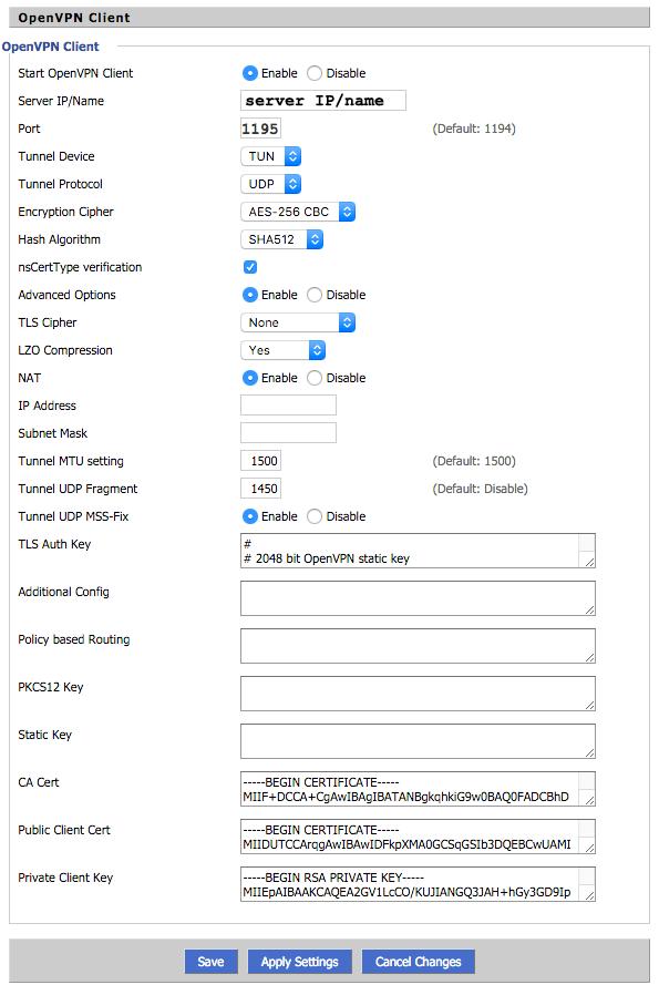 openvpn client settings for dd wrt router