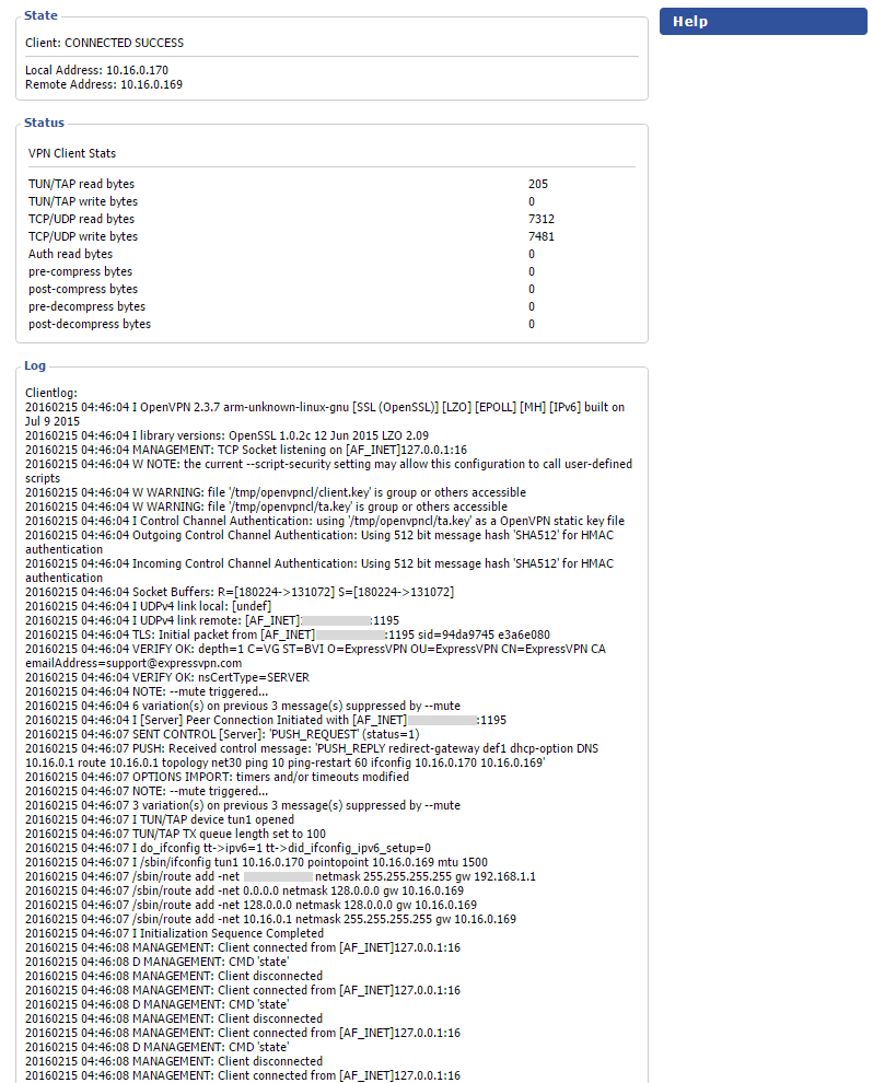 dd wrt open vpn router status