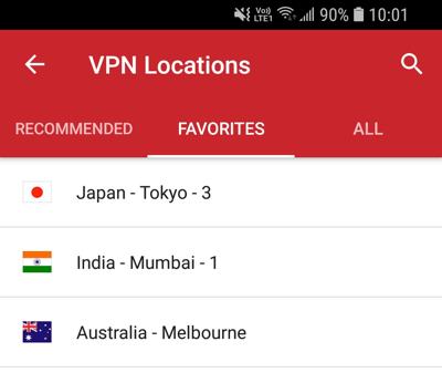 Favorittfanen i ExpressVPN Android-appen.
