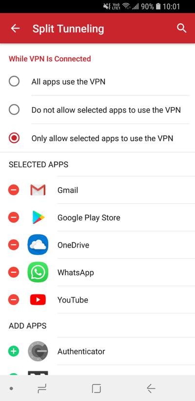 Legg til apper i Android delt tunnelering-innstillinger.