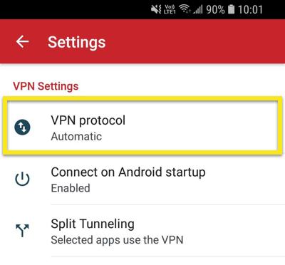 Åpne VPN-protokollmenyen.