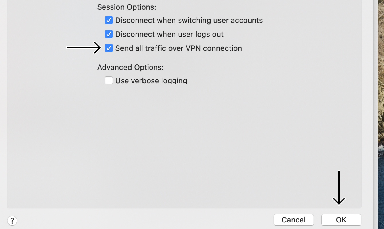 "Check the box for ""Send all traffic over VPN connection."""