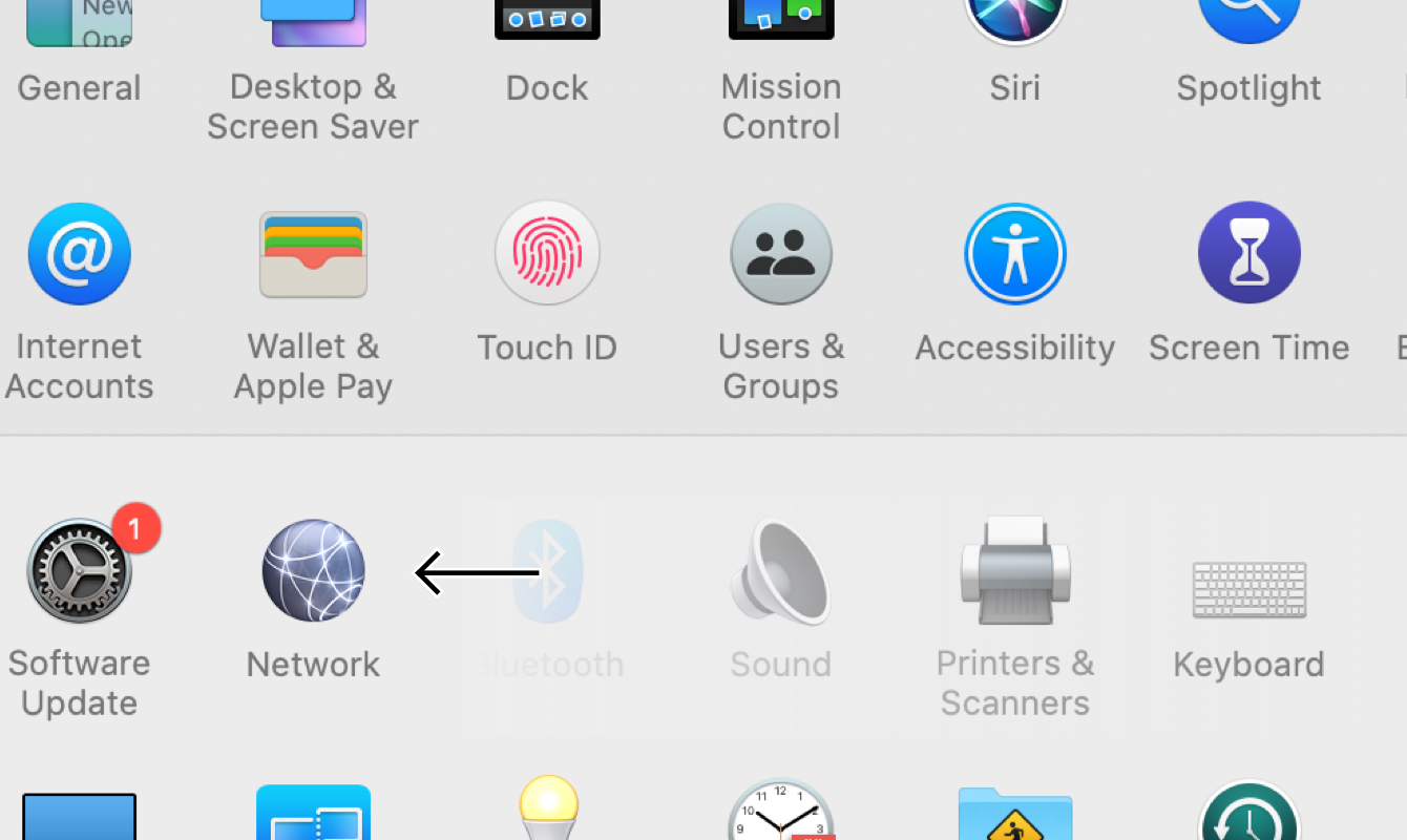 """Click """"Network"""" in System Preferences."""
