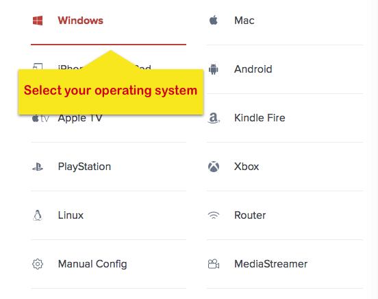 Página de configuração ExpressVPN com o sistema operacional Windows destacado.