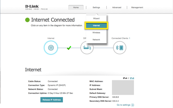 D-Link control panel with Internet selected from Settings dropdown