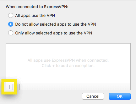 Add apps to exclude from VPN