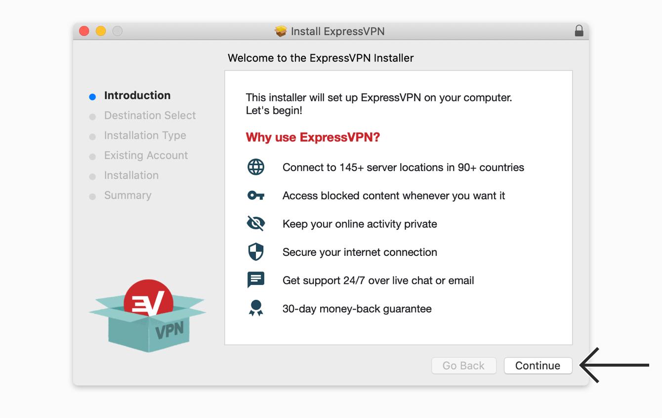 "Click ""Continue"" to install ExpressVPN."