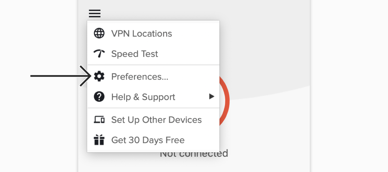 "Click ""Preferences..."" on the ExpressVPN app."