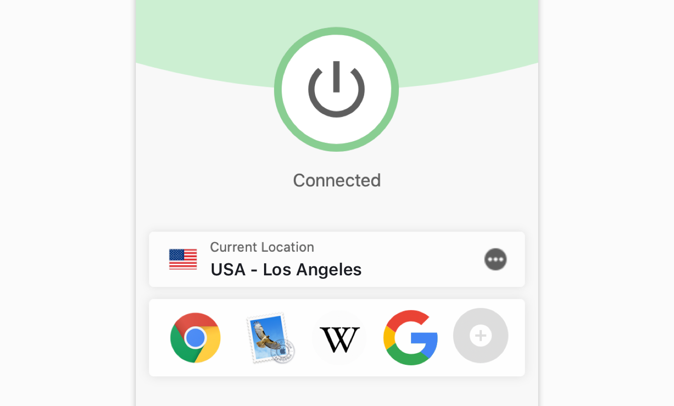 "The ""Connected"" message on the ExpressVPN."