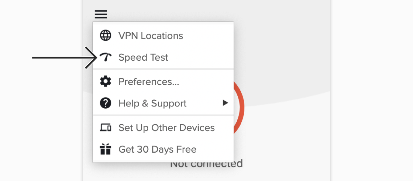 "Click ""Speed Test"" on the ExpressVPN app."