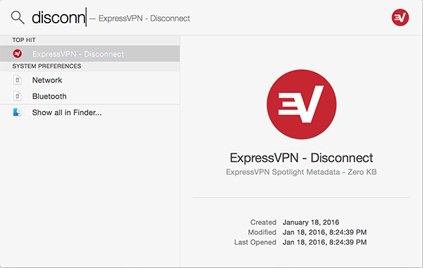 Spotlight search showing ExpressVPN - Disconnect.