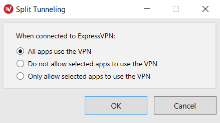 Seleccione cuáles programas en Windows usarán ExpressVPN.