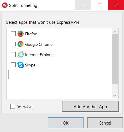 Seleccionar qué aplicaciones usarán la VPN.