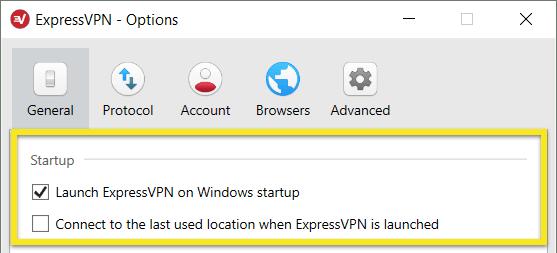 Elija para ejecutar ExpressVPN al iniciar Windows.