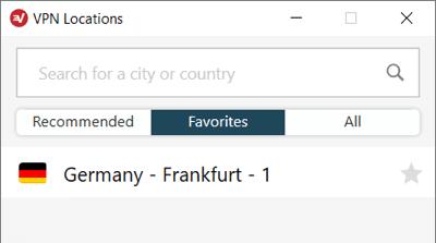 Les localisations favorisées dans l'appli ExpressVPN pour Windows.