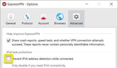 Marque la casilla para activar la protección IPv6.
