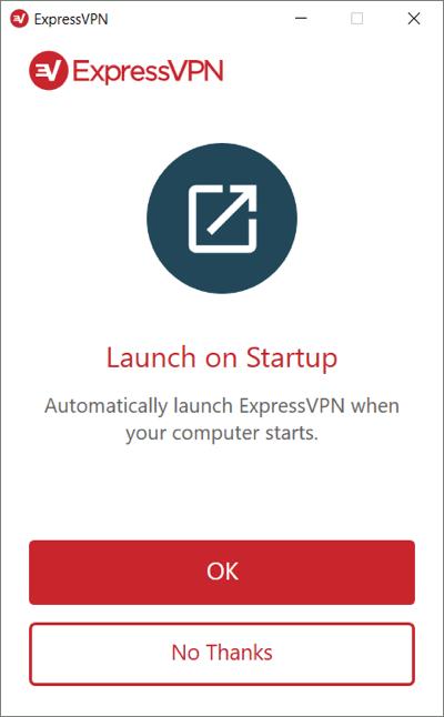 Seleccione si desea (o no) ejecutar ExpressVPN al iniciar Windows.