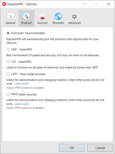 The ExpressVPN for Windows protocols menu.