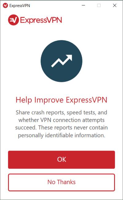 Elija si desea (o no) enviar análisis para ExpressVPN en Windows.