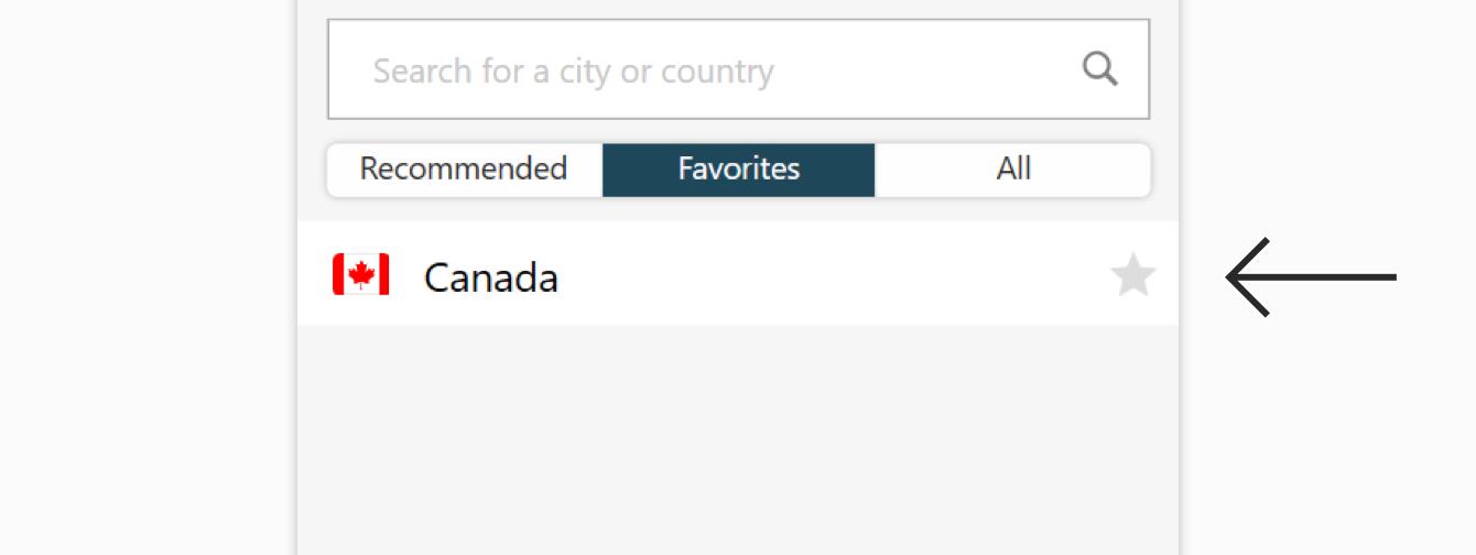 The Favorites tab on the ExpressVPN app.