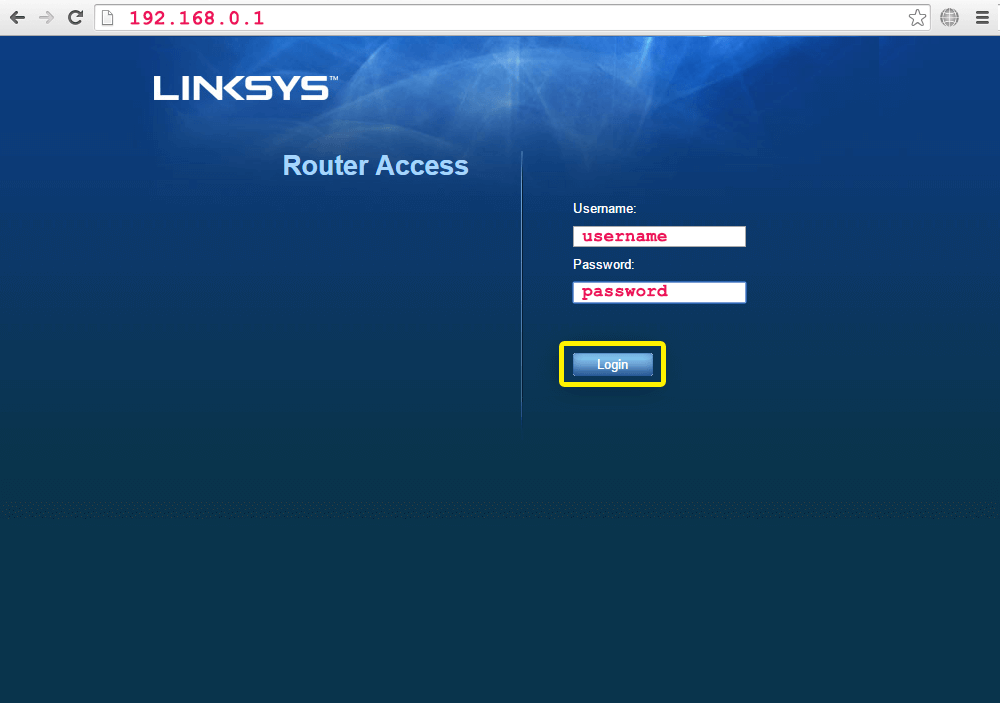 log in to your router