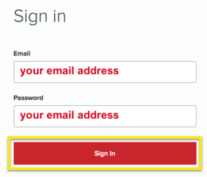 ExpressVPN Sign-in screen with Sign In button highlighted.