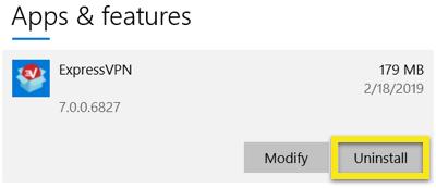 Desinstalar la aplicación de ExpressVPN para Windows.