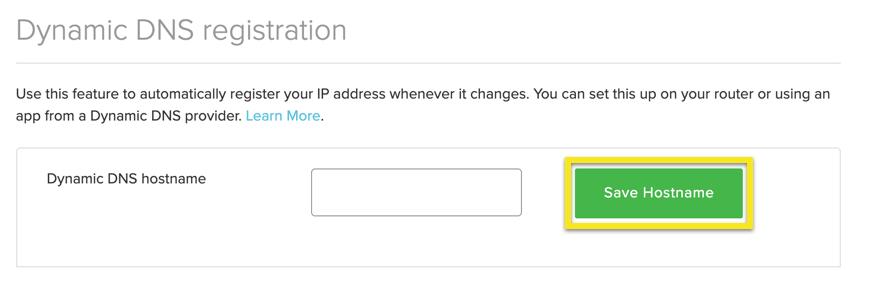 """Entfernen Sie den Hostnamen und klicken Sie auf """"Hostname speichern""""."""