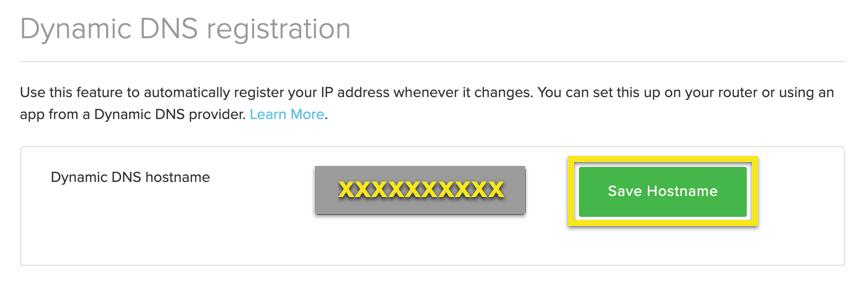 """Geben Sie einen Hostnamen ein und klicken Sie auf """"Hostname speichern""""."""
